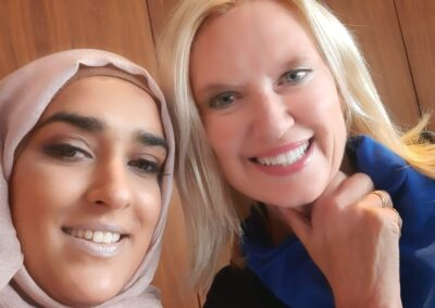 Ayesha Aslam with Anneka Rice at women of the year